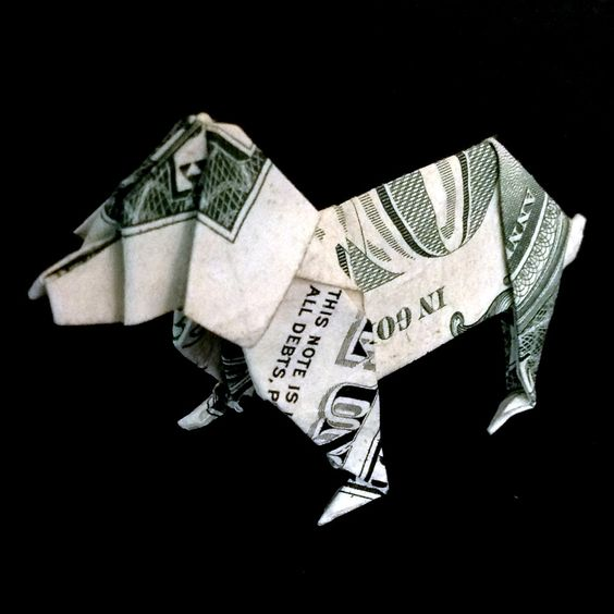 art gift money origami dog made out of real one dollar