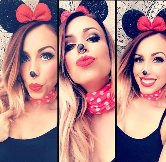Minnie, Minnie Mouse, Minnie Mouse makeup, Halloween, Halloween makeup, Halloween makeup ideas, easy Halloween makeup, makeup, makeup ideas, Kristinamakeup, red lip ink