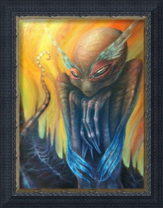 """Alien Art of Tommy Hawen of Sugar Coffin  """"Grey Owl Alien"""" 16 x 20 original oil on canvas."""