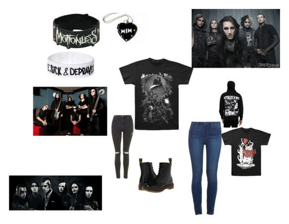 """Motionless In White"" by thechameleonqueen ❤ liked on Polyvore featuring Paige Denim, Topshop and Dr. Martens"