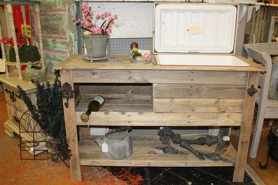 Outdoor Rustic Wooden Cooler Bar Buffet Sideboard