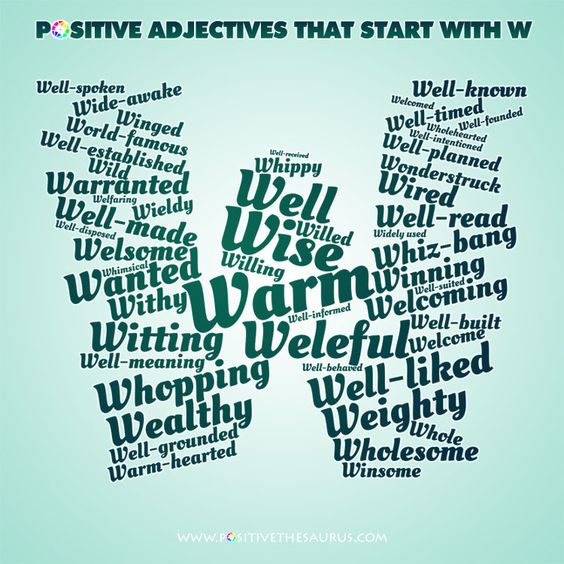 Positive Adjectives That Start With W List Of Positive