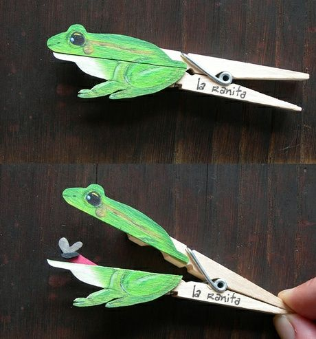 Clever clothespin crafts - frog:
