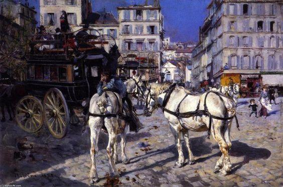 """Giovanni Boldini, """"Place Pigalle con due cavalli bianchi"""", 1882 - Olio su pannello, 18x27,5 cm, Collezione Rizzoli, Milano -"""