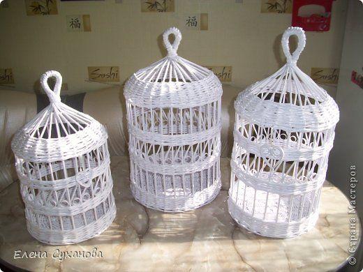 Поделка изделие Плетение Декоративные клетки и всяко разно из бумажных трубочек Бумага фото 1