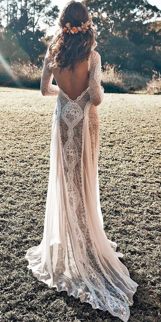 Dresses With Sleeves Or Open Back Vintage Backless A Line Mermaid Ballgown Off The Shoulder Wedding D Wedding Dresses Lace Wedding Dresses Beach Wedding Dress