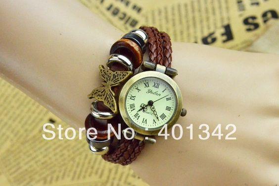 Pulseira de borboleta relógio para mulheres relógios de pulso Vintage Bronze quartzo relógio numerais romanos senhoras vestido Relógios SSL34 $4,17