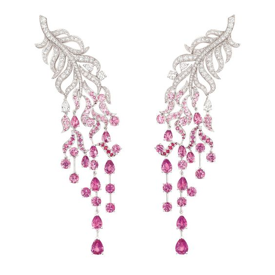"""Chanel """"Plume enchantée"""" earrings in 18-karat white gold set with 243 brilliant-cut diamonds for a total weight of 4.8 carats, 4 pear-cut diamonds, 142 round-cut pink sapphires for a total weight of 11.8 carats and 16 pear-cut pink sapphires for a total weight of 10.6 carats."""