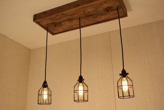 Cage Light Chandelier - Cage Lighting - Edison Bulb - Upcycled Wood on Etsy, £203.69