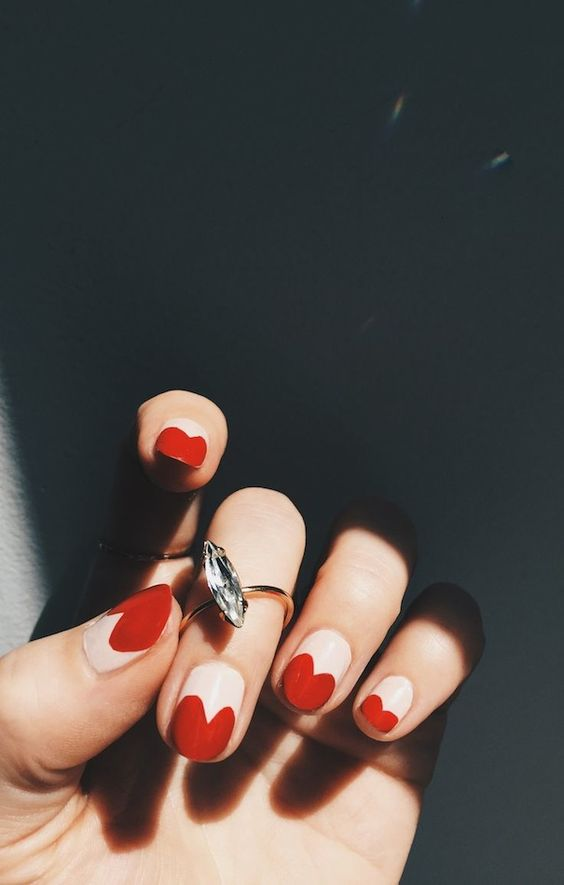 Heart-Tipped Nails And A Sparkly Ring Make A Cool Statement: