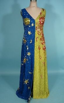 BOYD CLOPTON Run and Moon (Day and Night) Beaded and Sequined Gown!  Boyd Clopton was a couture and costume designer in the 1960s and 1970s who designed for some of the top musical groups and soloists of the era!  Probably best known for designing for Michael Jackson and The Jackson Five,  The Fifth Dimension, Aretha Franklin, and The Mamas and the Papas.
