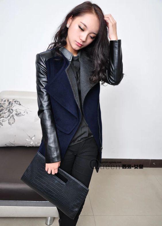 Venda quente de inverno Jacket moda com luva de couro das mulheres de lã jaquetas 2013 New Oversized XXL 3XL Exteriores Coats Frete grátis em Couro e Camurça de Roupas & acessórios no AliExpress.com