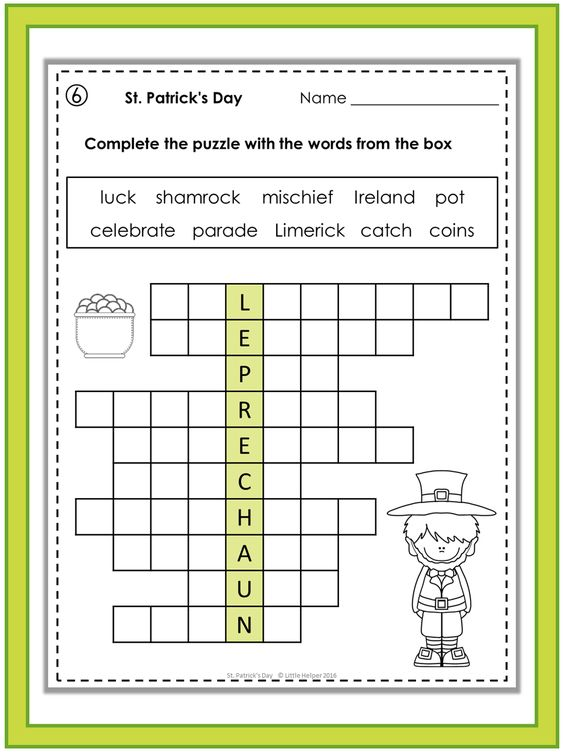St patrick 39 s day puzzles patrick o 39 brian english and for Soil 8 letters crossword clue