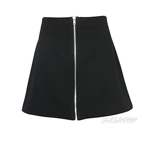 New Ladies Womens Front Zip A Line Skirt Mini Bodycon Party Skirt UK Size 6-14