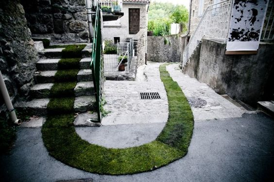 Tapis Rouge. Gaelle Villedary. 1400 feet of turf grass rolled through the village of Jaujac