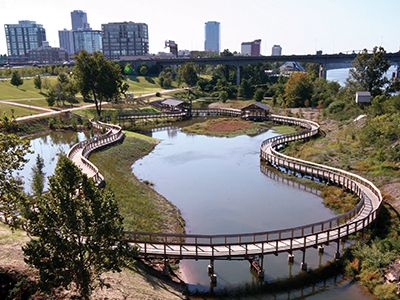 The boardwalk over the Bill Clark Wetlands adjacent to the library
