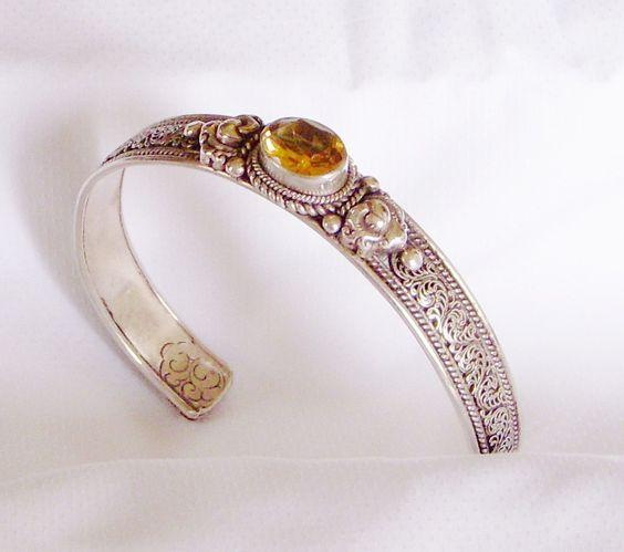 #Citrin cuff bracelet in 925% Silver