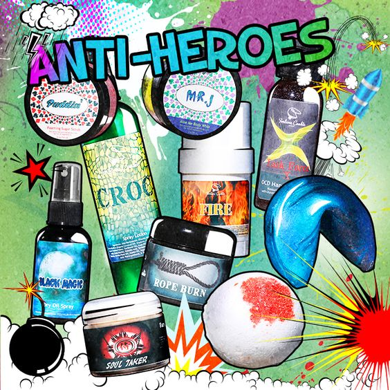 Save 10% off all 10 full-sized Anti-Heroes, when purchased together. Limited Stock. $81.72   BLACK MAGIC Dry Oil Spray  BOOMERANG Fortune Cookie Soap  CROC Spray Lotion  EL DIABLO Muscle Rub  MR. J Aloe Me Body Whip  PUDDIN' Foaming Sugar Scrub  ROPE BURN Deep Conditioner Treatment  SOUL TAKER Face Mask  TARGET PRACTICE Bath Bomb  TASK FORCE X OCD Hand Sanitizer: