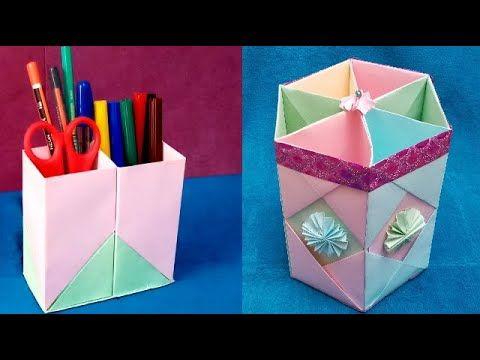 أنشطه للأطفال بالورق الملون صنع حاملة أقلام ورقية بطريقة سهلة وبسيطة Gifts Gift Wrapping Education
