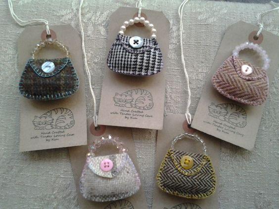 Handmade British Tweed Handbag brooch with bead handle, quirky gift...