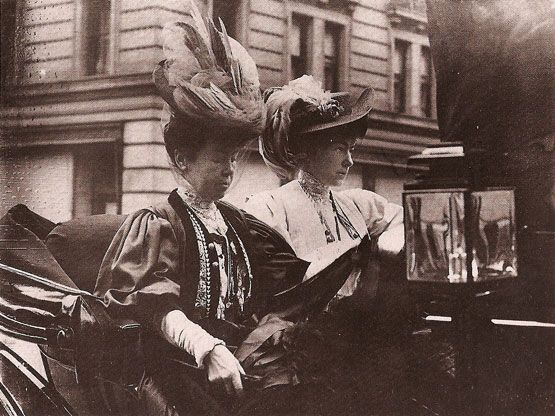 """Alice Gwynne, Mrs. Cornelius Vanderbilt II with her daughter Gertrude. Gertrude was tall and lanky and not especially feminine. At that time of Gertrude's coming out party, she and her friend Esther Hunt (daughter of the house's architect) had a very intense, emotional relationship bordering on what looked suspiciously like what in those days was called """"a Boston marriage."""" Mrs. Vanderbilt did not like what she saw. She ordered Gertrude never to see Miss Hunt again. The following year, also…"""