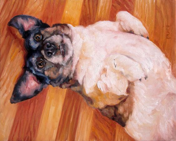 BellyScratch Custom Pet Portrait Oil Painting by puciPetPortraits, $557.00