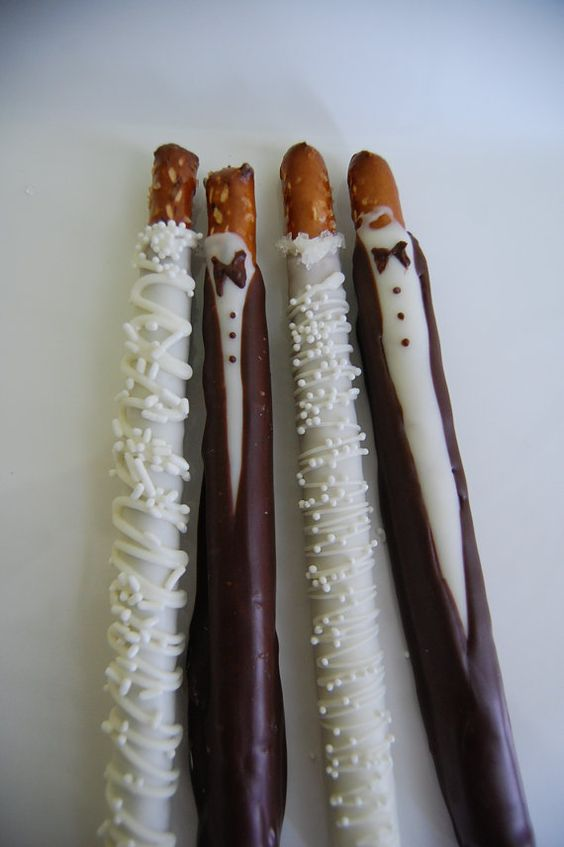 BRIDE and GROOM chocolate covered PRETZEL rods wedding favors ...