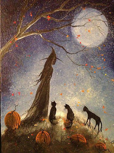 Original OOAK Painting Witch Cat Girl Halloween Gothic Folk Art Terri Foss: