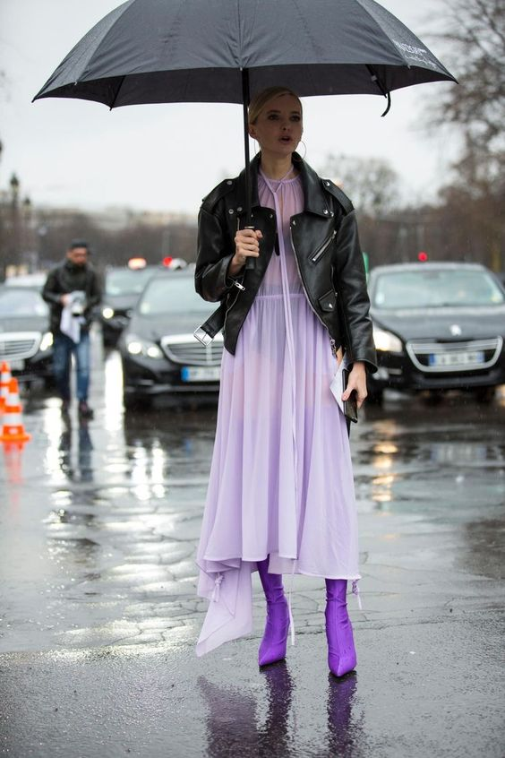 Lilac flowy midi dress, purple sock boots, violet boots, purple boots, leather motorcycle jacket,