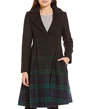 Zac Posen Fawn Ombre Plaid Coat #Dillards