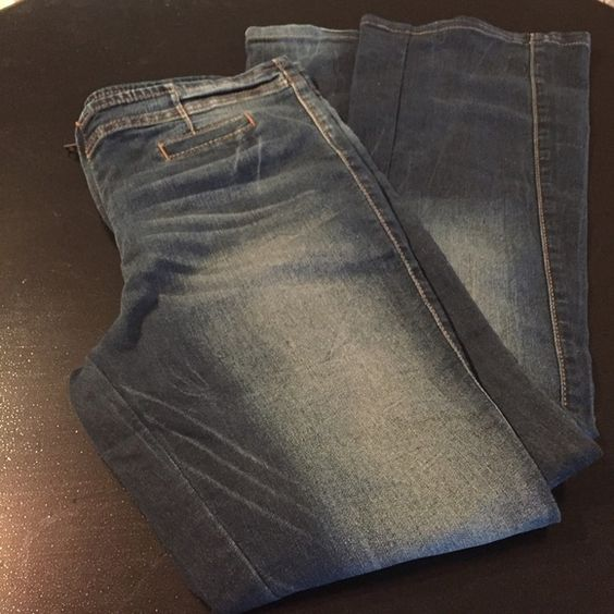 "Exposed zipper flair jeans 17"" waist and 39 1/2"" from waist to hem Allen B. Jeans Flare & Wide Leg"