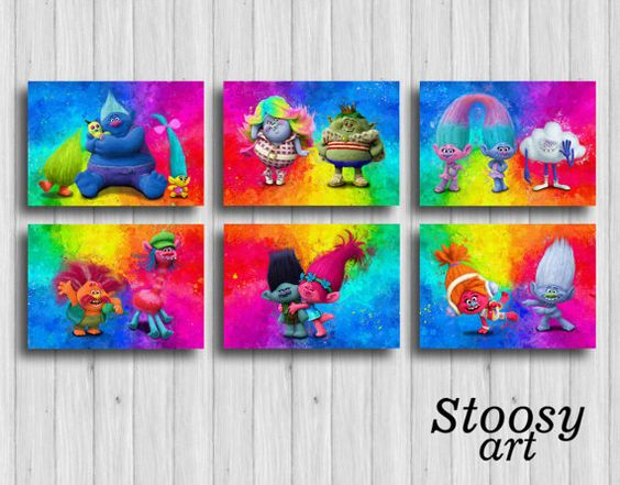 Dreamworks trolls poster set of 6 trolls decorations for Poster decoratif