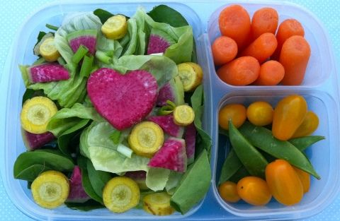 Husband's lunch salad is baby spinach leaves and butter lettuce with watermelon radish shaped into small pie pieces and a heart in the middle.