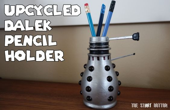 Upcycled Dalek Pencil Holder, from McDonald's milk jug to Doctor Who craft for kids