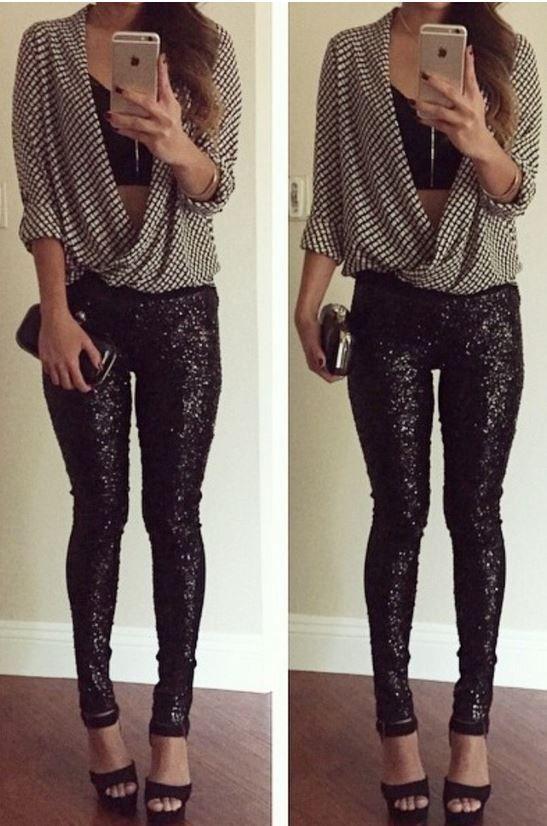 Black sequin leggings, Sequin leggings and Black sequins ...
