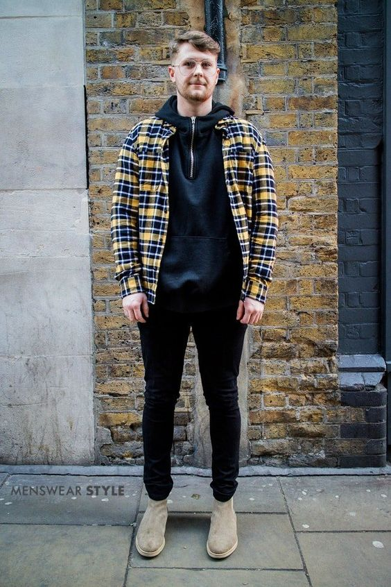 This is Digby spotted on the streets of London wearing Lumberjack check shirt, Beige suede boots and a Black hoodie.