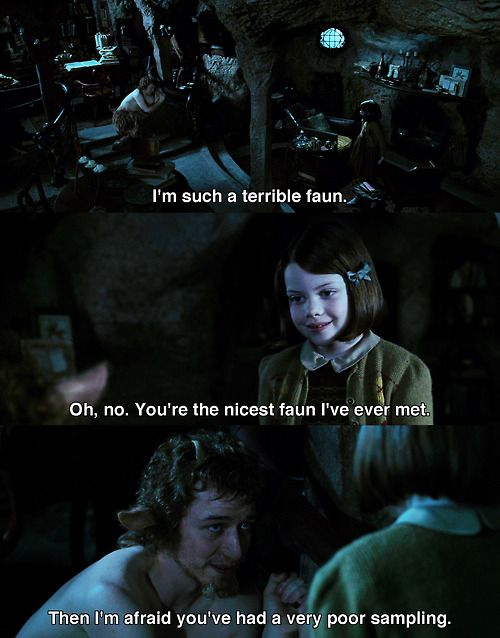 James McAvoy as Mr Tumnus with Georgie Henley as Lucy in The Lion, The Witch and The Wardrobe