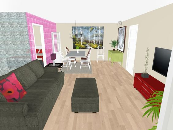 3d Floor Plan For A Great Room With Foiled Eco Wallpaper