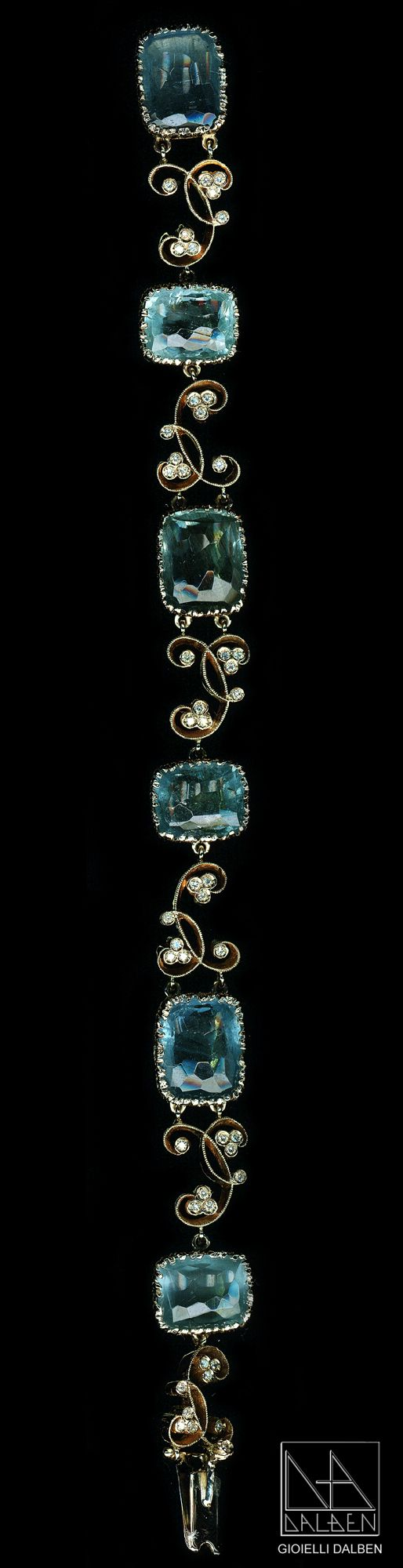 diamonds aquamarine bracelet - gioielli dalben - #jewelry #bracelet #diamonds: