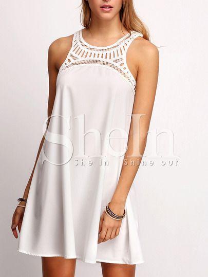 White Sleeveless Hollow Yoke Shift Dress