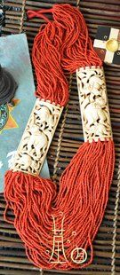 Beaded multi-strand Tibetan yak bone carved necklace