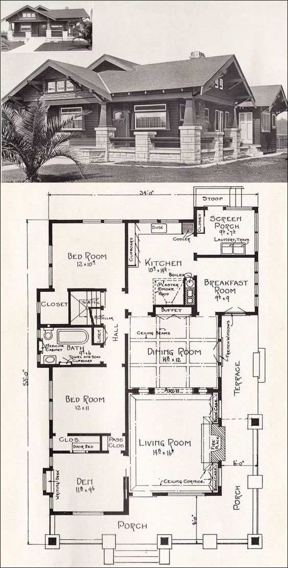 Bungalow house plans bungalows and california on pinterest for California bungalow house plans