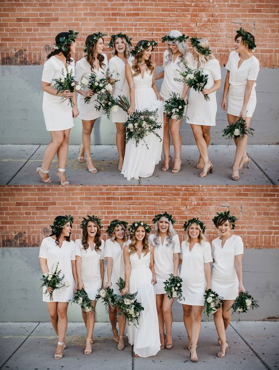 Bridesmaid Dresses With Short Sleeves V Neck Bridesmaid Dresses Simple Shor Short Bridesmaid Dresses White Bridesmaid Dresses Short White Bridesmaid Dresses