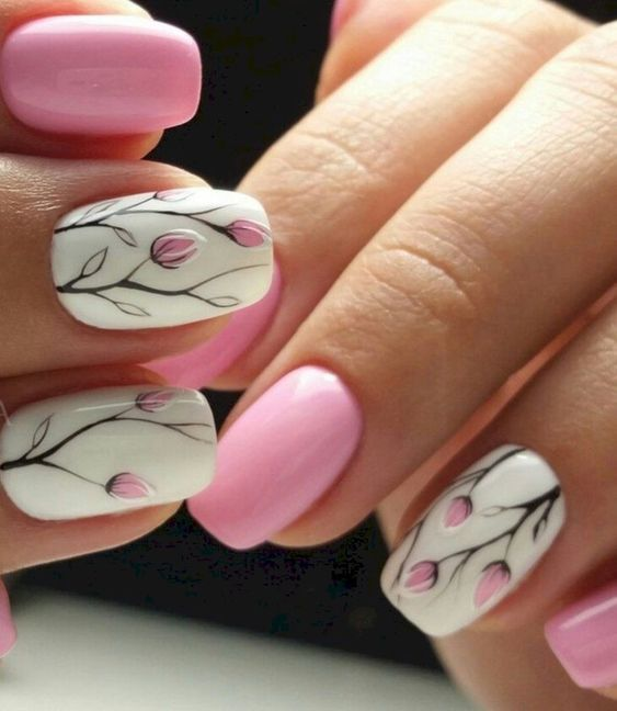 Beautiful Floral Nail Designs For Spring Spring Nail Designs Floral Nail Designs Beautiful Nail Design Pretty Nail Art Designs Tulip Nails Cute Spring Nails