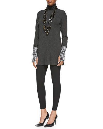 -5EYP Eileen Fisher Scrunch Turtleneck Tunic, Herringbone Cashmere Glovettes &  Viscose Jersey Leggings