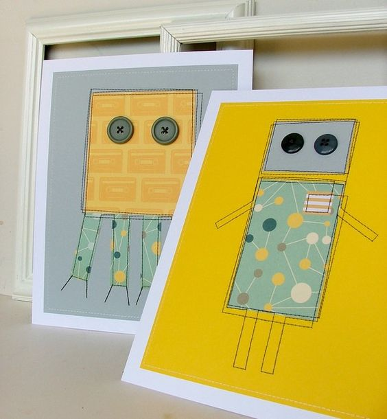 Robot wall art with sweet button eyes!: Loves Robots, Robots Aliens Monsters, A Frame, Robot Print, Robot Idea, Collect Robots, Board Robots, Theme Robots