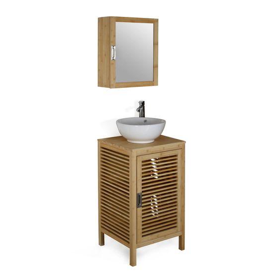 meuble bas de salle de bains en bambou 50cm nature les meubles sous - Meuble Vasque Salle De Bain 50 Cm Nature
