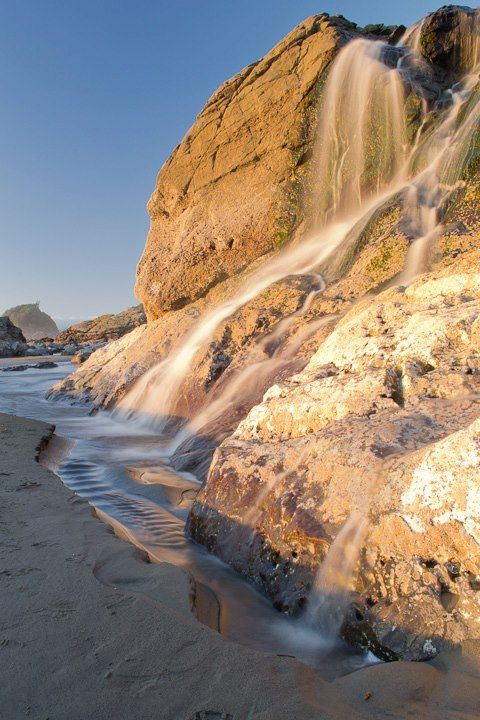 Moonstone Beach in Humboldt County, Ca is a beautiful beach made even more spectacular by the water cascading over the rocks on its way to the ocean below.