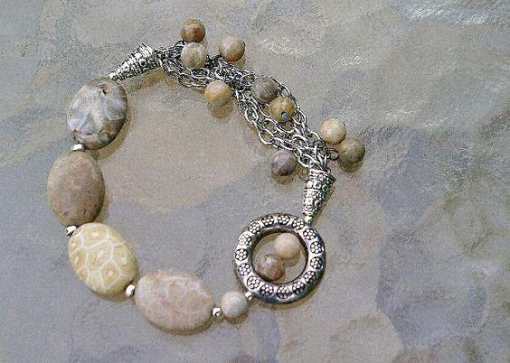 Fossil Coral Stretch Charm Bracelet