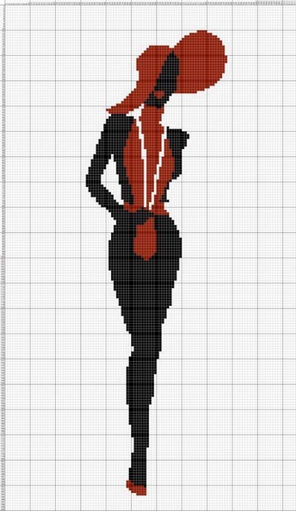 0 point de croix silhouette noir rouge  - cross stitch black and red silhouette:
